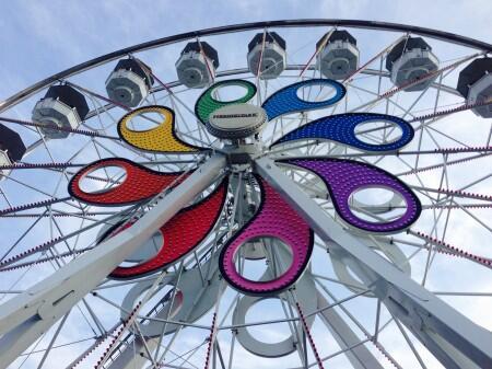 parc d'attractions, balade, ferris roue, été, amusement
