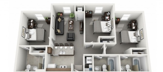 Courtyard Student Housing [5/14 - 8/5]Leasing one bedroom with attached bathroom