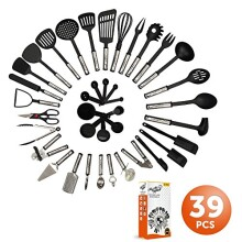 Mr. & Mrs. Kitchen Cooking Utensils Set - 39 Piece Premium Tool and Gadget Set Stainless Steel And Nylon _ Turners, Tongs, Spatulas, Pizza Cutter, Whisk, Bottle Opener, Grater, Peeler, Can Opener