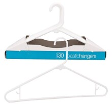Merrick Plastic Clothing Hangers, Set of 30