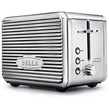 BELLA LINEA 2 Slice Toaster with Extra Wide Slot, Color Polished Stainless Steel