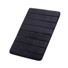 "[Update] FindNew Microfiber Memory Foam Bath Mat with Anti-Skid Bottom Non-Slip Quickly Drying (16"" X 24"", Black)"
