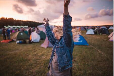 woman, concert, tents, music festival